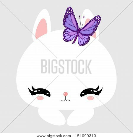 Cute little bunny with violet butterfly. Greeting card. Children's character. sticker.