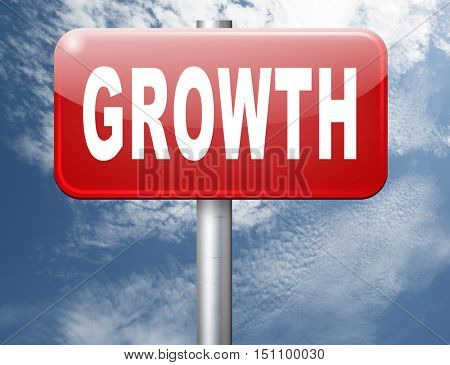 growth, grow in economic market stock or business development profit rise increase, road sign billboard. 3D illustration