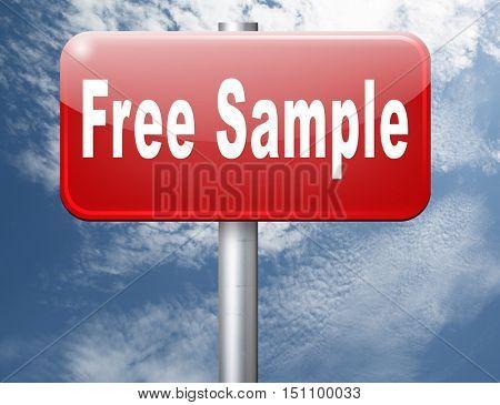 Free product sample offer or gratis download webshop button or web shop, road sign  3D illustrationbillboard.