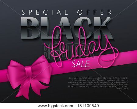 vector illustration of black friday banner with hand lettering golden word - friday - and pink ribbon with bow.
