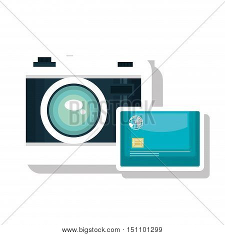 photographic camera device and credit card icon over white background. vector illustration