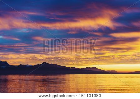 Winter sunset over Lake Geneva, Canton of Vaud, Switzerland