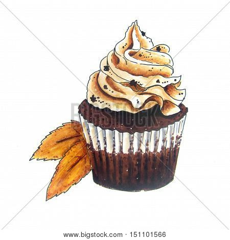 Cupcake vintage Hand Drawn sketch with Autumn leaves