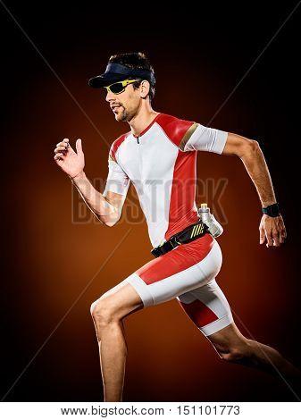 man  runner running triathlon ironman isolated