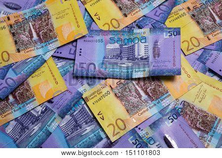 Lots of Samoa Tala bank notes