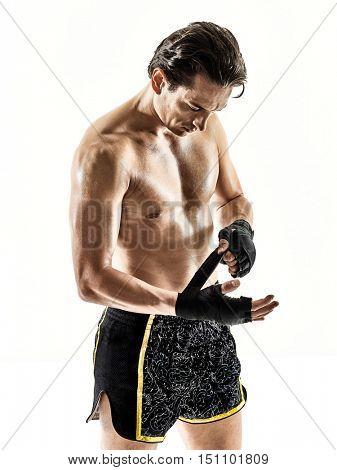 Muay Thai kickboxing kickboxer boxing man isolated