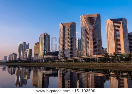 Modern Buildings Reflection in Pinheiros River in Sao Paulo City, Brazil