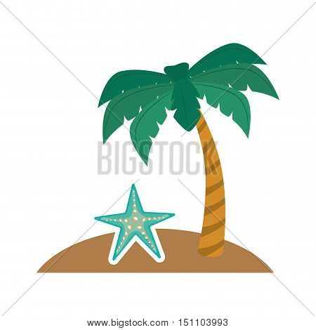 summer palm tree and blue seastar icon over white background. vector illustration