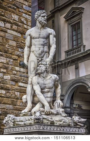 Statue of Hercules and Cacus in the Piazza della Signoria in Florence Italy