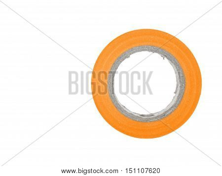 Repairing adhesive orange insulation tape reel, isolated on white background