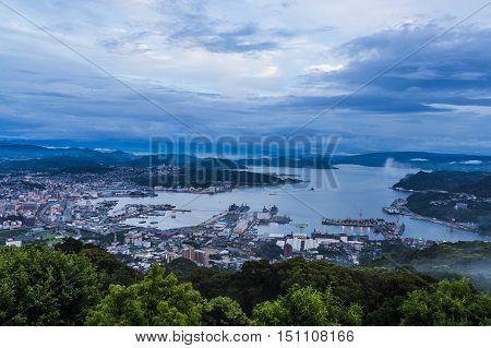 Sasebo City Skyline View From Mount Yumihari Overlook Nagasaki, Japan..