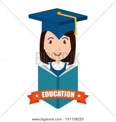 avatar woman smiling wearing graduation cap and education ribbon decoration. vector illustration