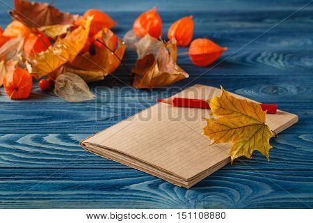 Autumn Notes On Blue Table