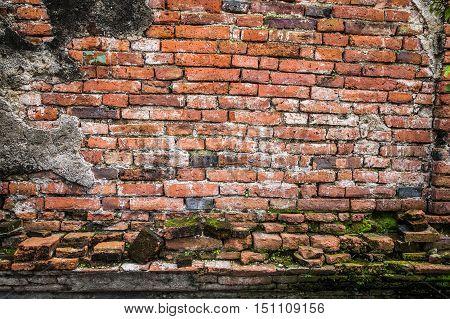 Ancient Brick Wall In Ayudhaya Temple, Thailand.