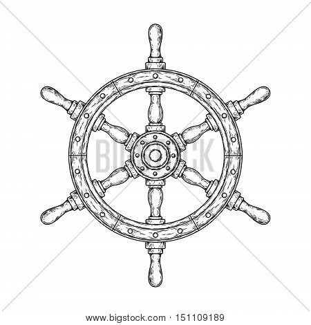 Vector illustration of an old nautical wooden steering wheel on a white background. Print for T-shirts.
