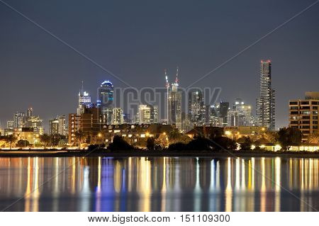 Night skyline of Melbourne, Australia