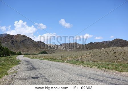 landscape, steppe, field, road, steppe, summer, Kazakhstan, a steppe landscape, in the distance, the types of