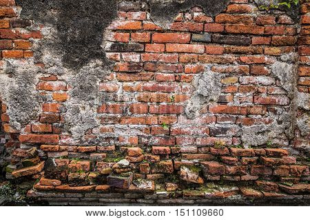 Ancient Brick Wall In Ayudhaya Temple, Thailand.