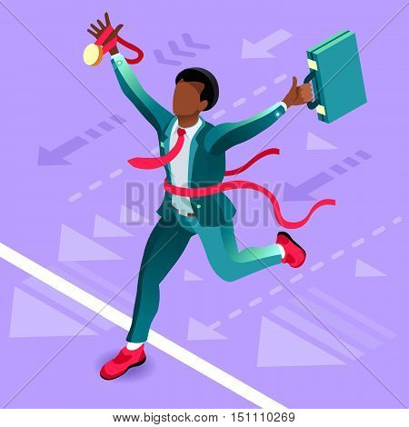 Business concept infographic vector design. Businessperson 3D character flat ambitious man. Career ambition changing role winning Startup group training goal setting and team management illustration