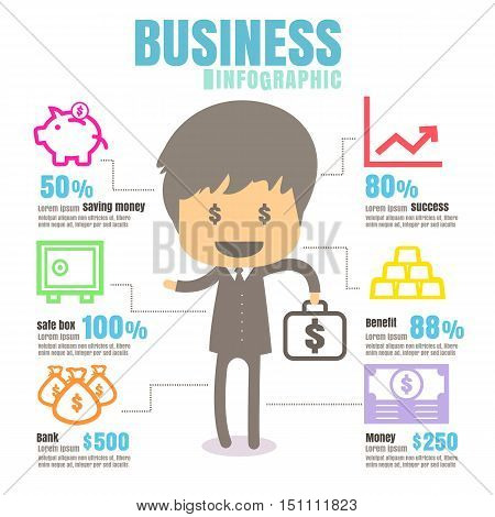 infographics Business Bank savings safe money profits benefit white background