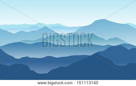 Blue mountains in the fog. Seamless vector background.