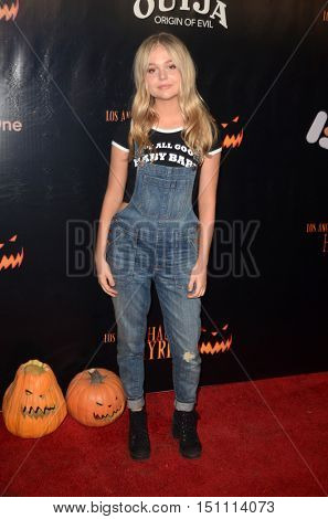 LOS ANGELES - OCT 9:  Emily Alyn Lind at the Haunted Hayride 8th Annual VIP Black Carpet Event at the Griffith Park on October 9, 2016 in Los Angeles, CA