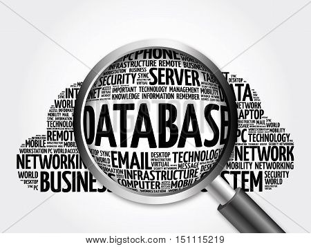 Database Word Cloud With Magnifying Glass