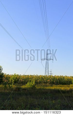 High voltage electric power tower against blue sky