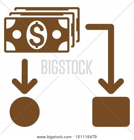 Cashflow icon. Glyph style is flat iconic symbol with rounded angles, brown color, white background.