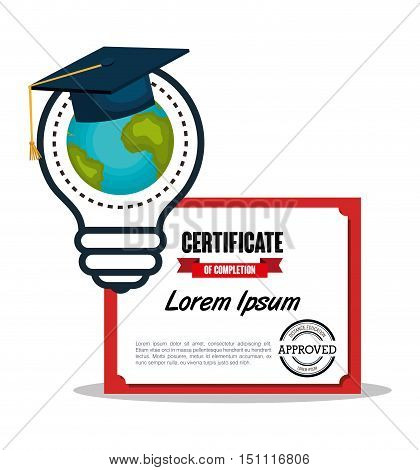 education certificate and bulb with earth planet and graduation cap over white background. vector illustration