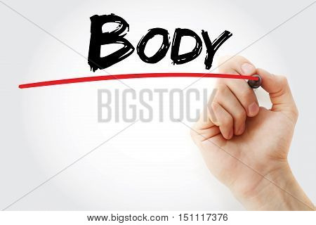 Hand Writing Body With Marker