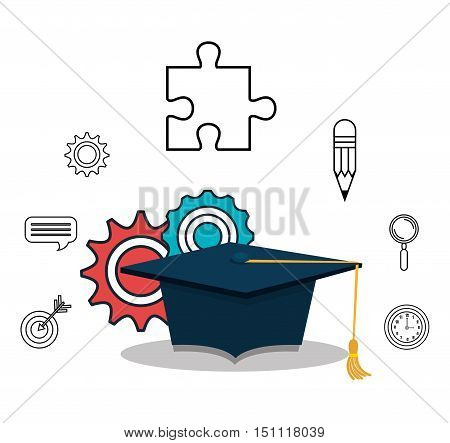 graduation cap and gears with education icon set over white background. vector illustration