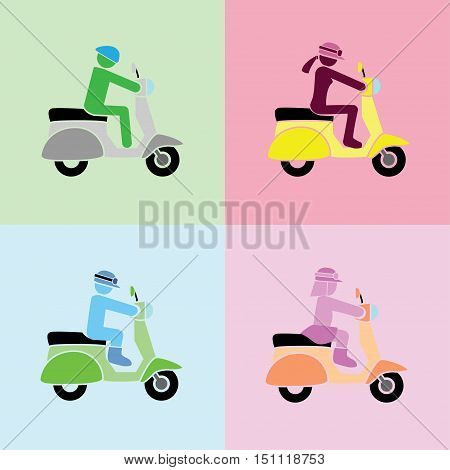 man, woman, boy and girl with riding action on scooters by the simple vector format