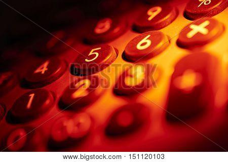 full frame red illuminated numeric keypad detail