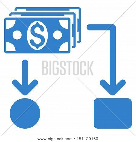 Cashflow icon. Glyph style is flat iconic symbol with rounded angles, cobalt color, white background.