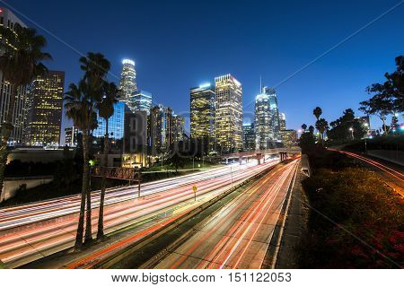 Downtown Los Angeles at night with light trails