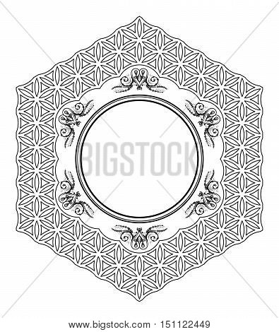 Decorative hexagonal frame from circles with florid ornaments with stylized hearts and leaves in the corners