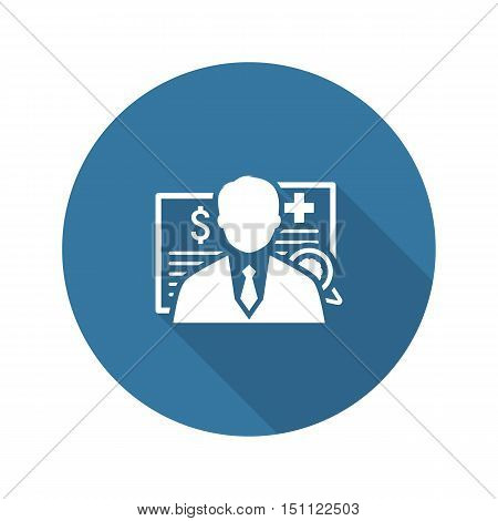 Insurance Agent Icon. Flat Design. Isolated Illustration. Man with multiple documents placed behind.