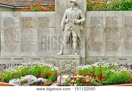 Neufchatel en Bray France - june 23 2016 : the war memorial