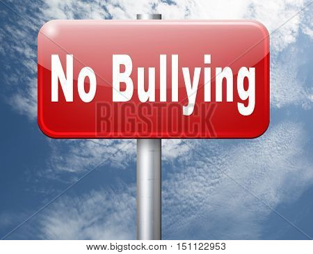 Bully free zone, Stop bullying at school or at work stopping or online. 3D illustration