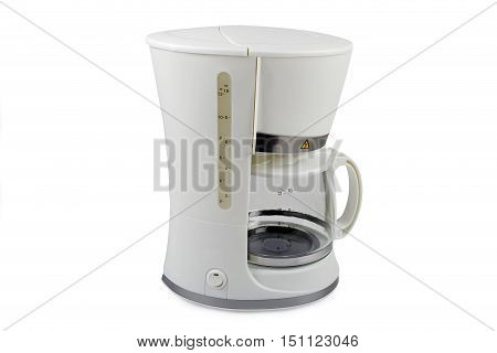 white coffee maker isolated on white background