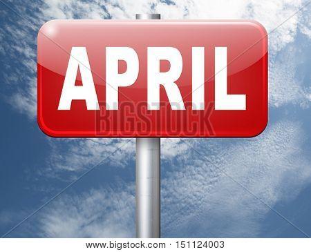 april spring month event calendar, roas sign billboard.  3D illustration