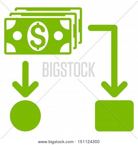 Cashflow icon. Glyph style is flat iconic symbol with rounded angles, eco green color, white background.