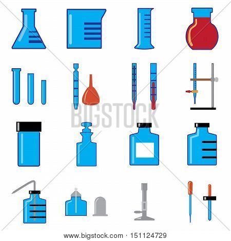 simple vector of glass wares in chemistry laboratory