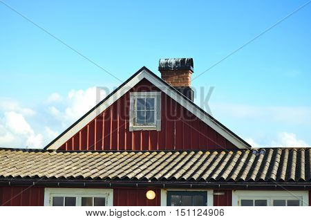 typical swedish falun red house with blue sky