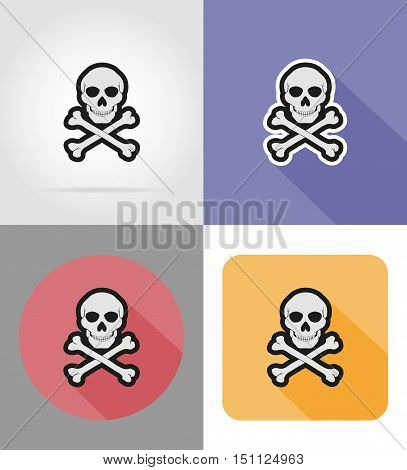 skull and crossbones flat icons vector illustration isolated on background