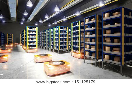 automated modern warehouse 3d rendering  image