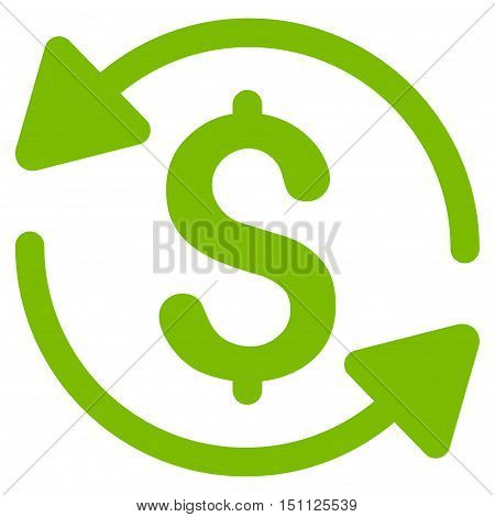Money Turnover icon. Glyph style is flat iconic symbol with rounded angles, eco green color, white background.