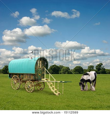 Old Gypsy Caravan Trailer Wagon with Horse poster