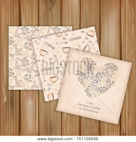 Set of vector two seamless patterns and one card with coffee beans on wood background. Hand-drawn pattern for design wrapping paper packaging menu for coffee shop or cafe.